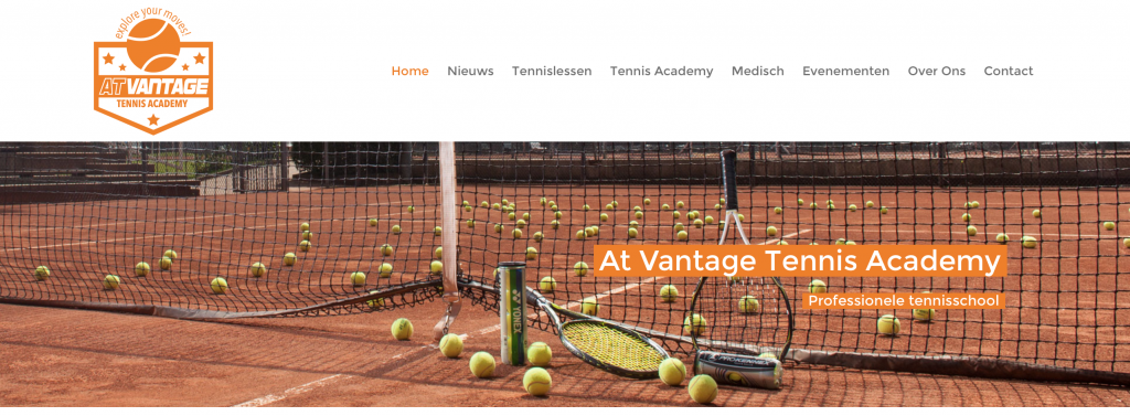 Header At vantage tennis academy website